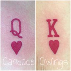 Two tattoos I did of a king of hearts and a queen of hearts symbol letter off of playing cards