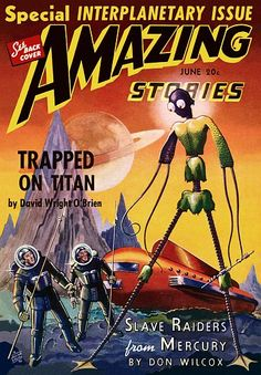 Vintage Sci Fi Poster Amazing Stories Slave Raiders