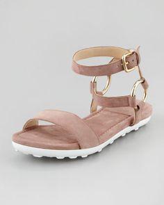 Ringo Ankle-Strap Flat Sandal, Nude by Stuart Weitzman at Neiman Marcus.