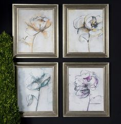 These prints are accented by silver leaf frames with a light black glaze and mirrored accents. Prints are under glass.