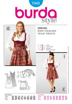 610c772d791048 Burda Misses Dirndl Costume 7443 The bodice with the low neckline, the  pleated skirt, short ruffled blouse with broad cuffs and the ruffled apron  with tiny ...