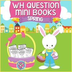Designed for use in speech therapy, these spring/Easter-themed books make answering WH-questions fun!Students practice answering a new WH-question each book while coloring in visual cues to the answer.   Each book is a single sheet of paper divided into 8 sections.