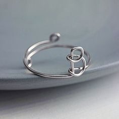 Sterling Silver Initial Ring - rings