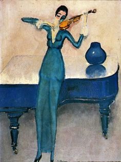 "Kees van Dongen ""La Violoniste"", 1920 (The Netherlands, Fauvism, 20th cent.)"
