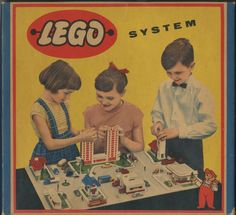 Lego A Natural History of Package Design This is the 1958 box for Lego set It shows three children so absorbed in play that they couldn't even bother to look up at the camera. Vintage Lego, Vintage Ads, History Of Lego, Van Lego, Lego Boxes, Toy Boxes, Lego System, Lego Group, Vintage Posters