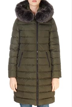 This is the stunning 'Damara' Forest Green Knee Length Puffer Coat from our friends at Intuition! SHOP NOW! Fur Trim, Intuition, Shop Now, Winter Jackets, Coat, Green, Clothing, Shopping, Fashion