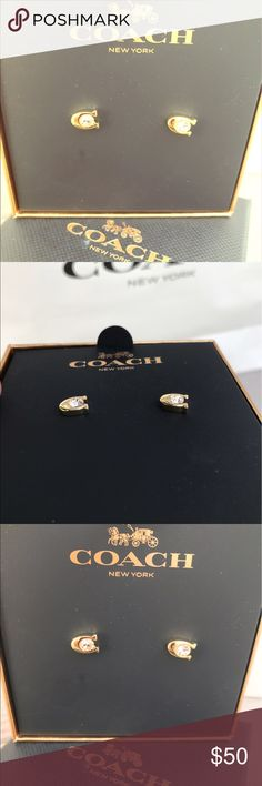 Coach C Stud Earrings Sparkly gold Coach Studs. Perfect for every COACH lover! Coach Jewelry Earrings