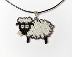 Sheep pendant beadwork lamb leather necklace chinese by DiaBeads