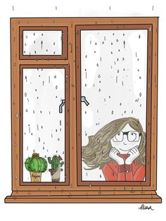 Me, enjoying the falling rain Illustration Mignonne, Cute Illustration, Easy Watercolor, Easy Paintings, Illustrations, Cute Drawings, Doodle Art, Anime, Character Design