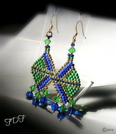 Green & Blue Seed Bead Earrings - Geometric Bead Woven, Art Deco, Brick Stitch Earrings, Color Block