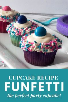 Bring the fun to the party with funfetti cupcakes! These easy homemade funfetti cupcakes are so cute and quick to make. Try them out for birthday cupcake ideas for girls, kids. Adding some sprinkles inside your cupcakes add a whole lot of fun. But then I also added sprinkles on top of the buttercream frosting and then a colorful gumball on top! Any child or adult will love this fun and tasty cupcake! Funfetti Cupcake Recipe, Funfetti Cake, Cupcake Recipes, Peacock Birthday Party, Pink And Gold Birthday Party, Cute Cupcakes, Birthday Cupcakes, Kids Party Themes, Party Ideas