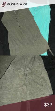 Old navy woman's top Worn 4 times! Olive green and light blue spaghetti strap tanks with built in belt for the waist. Old Navy Tops Tank Tops