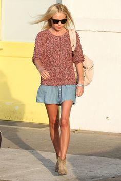 kate bosworth. sweater, denim flared mini skirt, ankle boot #streetstyle #IM #backtoschool