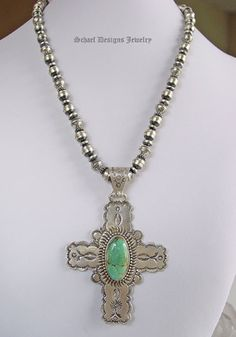 David Troutman Kingman Turquoise & Stamped Sterling Silver Cross Pendant on antiqued silver bench bead necklace | upscale online turquoise & native american jewelry gallery boutique  | Schaef Designs collectible Turquoise Jewelry | San Diego CA