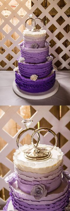 My purple ombre wedding cake with ruffles. Thanks to April's SweetTreats (my sister).