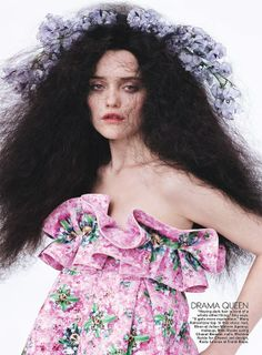 Who What Wear Sky Ferreira Teen Vogue May 2014 Tough Love Photographer Josh Olins  Styled By Brandon Maxwell Long Frizzy Blaxk Hair Floral Flower Hair Accessory Hair Piece Mary Katrantzou Pink Floral Print