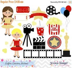 80% OFF INSTANT DOWNLOAD movie clipart by JessicaSawyerDesign