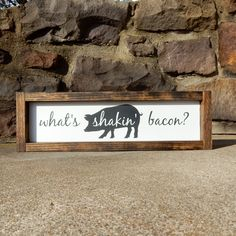 What's Shakin Bacon Rectangular/Pig/Kitchen/Farmhouse Décor/Farmhouse Sign Farmhouse Signs, Farmhouse Decor, Decor Around Tv, Craftsman Kitchen, White Kitchen Cabinets, Decoration, Painting On Wood, Kitchen Remodel, House Styles