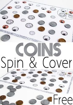 Coin Matching Spin & Cover Game Help kids learn to recognize coins with this hands-on math game. Coin Spin & Cover is a fun way to learn what coins look like. Money Activities, Math Activities For Kids, Math For Kids, Math Resources, Money Games, Maths Fun, Subtraction Activities, Addition Activities, Addition Worksheets