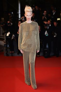 Tilda Swinton in Haider Ackermann.  Only she could wear this and look chic.  Cannes 2013