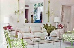 Palm Beach Chic Decor, Circa 1964 I like this room a lot! How fun! Palm Beach Decor, Beach Chic Decor, Beach House Decor, Home Decor, Beach Condo, Formal Living Rooms, Living Room Modern, Living Spaces, Beach Living Room