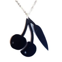 Cherries Necklace now featured on Fab.  Made out of vintage vinyl records