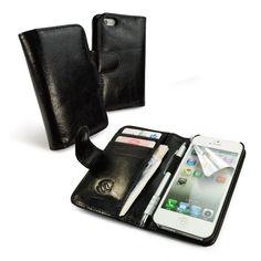 funda/cartera en piel 'Vintage' para Apple iPhone 5 (con protector de pantalla) - negro B00CSO1C58 - http://www.comprartabletas.es/fundacartera-en-piel-vintage-para-apple-iphone-5-con-protector-de-pantalla-negro-b00cso1c58.html