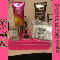 Bundle of five mix bundle(SALES) I have here a mix of a bundle I have one lotion from Bath and Bodyworks the other is pink from Victoria's Secret I also have a mini perfume tease from Victoria's Secret and another  set of Victoria's Secret it brings a scrub wash body wash lotion and body oil these are mini ones and a mini candle holder which I used it and cleaned it out the pink box does not come in the bundle feel free to ask any questions Pink victoria secret & BBW Other