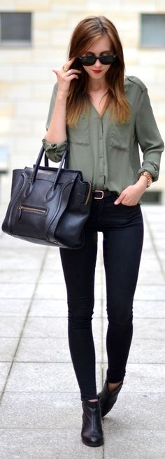 #buttondown #trend #style #outfitideas | Olive Oversize Button Down + Black Jeans