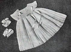 crochet baby dress with shell stitch skirt, short sleeves and matching booties