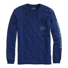 Shop Long-Sleeve Vintage Whale Heater Pocket T-Shirt at vineyard vines ($48) ❤ liked on Polyvore featuring tops, t-shirts, tops/outerwear, vintage tees, vintage pocket tee, pocket tees, long sleeve cotton tees and vintage long sleeve t shirts
