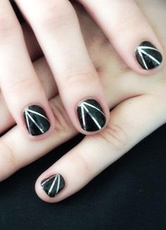 Simple black and silver nail art