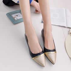 women spring shoes 2017 Pointed Toe Flats patchwork golden Casual Boat office Shoes KJ330