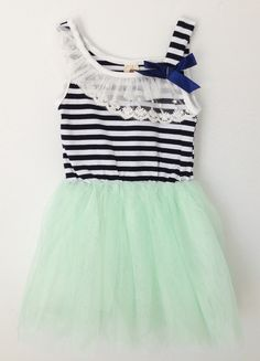 reg. $28.00This darling dress is perfect for any occasion! It's so unique and on trend with its hip stripes complimented by the ever so popular mint green tutu skirt. Can't you just picture your Little Royal wearing this for family picture or even a day out shopping