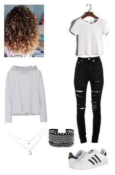 """""""First day of school outfit"""" by waleskalandaetaorta on Polyvore featuring Yves Saint Laurent, adidas, Current/Elliott and White House Black Market"""