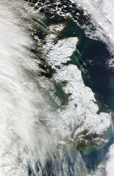This image, taken by Nasa's Moderate Resolution Imaging Spectroradiometer on its Terra satellite, captured Britain blanketed in white on Saturday 26 January.