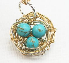 Rustic Two Toned Birds Nest with Beautiful by Kikiburrabeads, $22.50