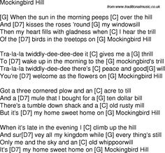 Old time song lyrics with chords for Mockingbird Hill G