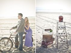 Engagement Photos on the Beach with a Bike Vintage Rentals by Ribbons & Rust www.ribbonsandrust.com