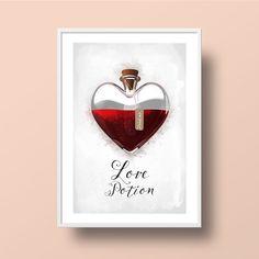 """Illustration romantique, tirage d'art mural, impression typographie, """"Love Potion""""- Format A4 : Affiches, illustrations, posters par ili"""