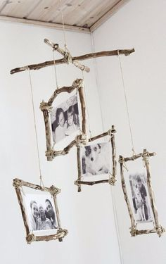 DIY Photo Crafts and Projects for Pictures - DIY Rustic Photo Mobile - Handmade Picture Frame Ideas and Step by Step Tutorials for Making Cool DIY Gifts and Home Decor - Cheap and Easy Photo Frames, Creative Ways to Frame and Mount Photos on Canvas and Display Them In Your House http://diyjoy.com/handmade-photo-crafts