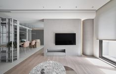 Gallery of Axis House / LCGA Design - 2 Design 24, House Design, Cement Walls, Soothing Colors, Folding Doors, Ceiling Design, Living Room Interior, Interior Design Inspiration, Living Area