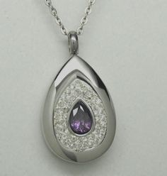 TEAR CREMATION URN NECKLACE PURPLE CREMATION JEWELRY TEARDROP MEMORIAL KEEPSAKE
