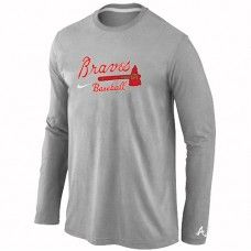 Wholesale Men Atlanta Braves Authentic Team Name Long Sleeve Grey T-Shirt_Atlanta Braves T-Shirt