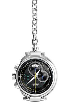 """Parmigiani Fleurier Transforma chronograph pocket watch with galvanic black dial. Outer with circular satin-finished, """"guilloche"""" centre, circular snailed counters, applique indexes."""