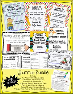 Grammar Galore Vocabulary Bundle (24 Task Cards, Activities, & Handouts). This bundle saves you over 25% off & comes with 24 Grammar (Parts of Speech) Task Cards, Parts of Speech & Types of Pronouns Handouts, fun Adjectives/Nouns Game, Elaborate the Sentence: Set 1 & SET 2 (Practice using the parts of speech when writing to construct better sentences), Vigorous Verb Practice (Action, Linking, and Helping Verbs with answer keys) www.facebook.com/positivelypassionateaboutteaching