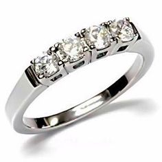 Best 4: Natalie: Stainless Steel 0.64ct Russian Ice on Fire Diamond CZ 4 Stone Anniversary Wedding Band (sizes 5 to 10) elegant jewelry reviews