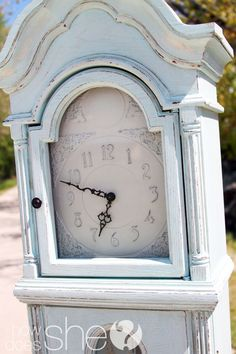 Trying to find a clock face just like this for my refurbished shabby chic grandfather clock.  Can't find this shape!!