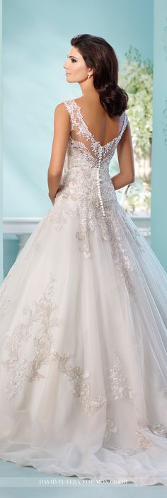 David Tutera for Mon Cheri Fall 2016 Collection - Style No. 216250 Lapis -tulle over satin full A-line wedding dress with metallic hand-beaded lace appliqués