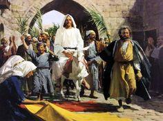 Jesus' triumphal entry into Jerusalem.